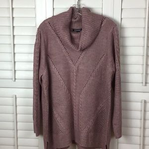 Roz& Ali Cowl Neck Cable Knit Sweater 2X